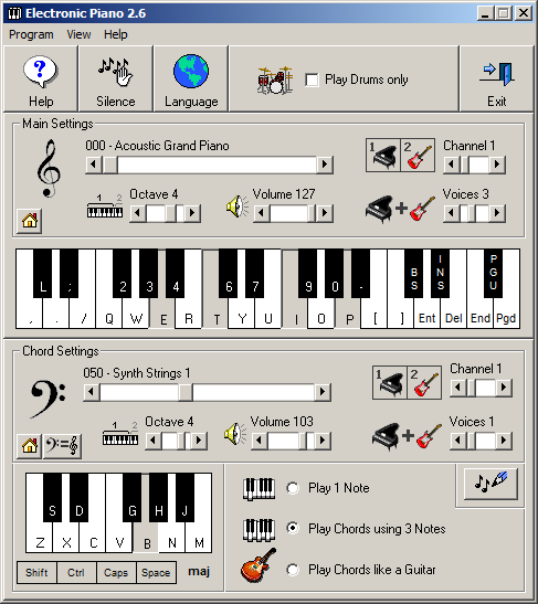 Electronic Piano 2.6 main screen